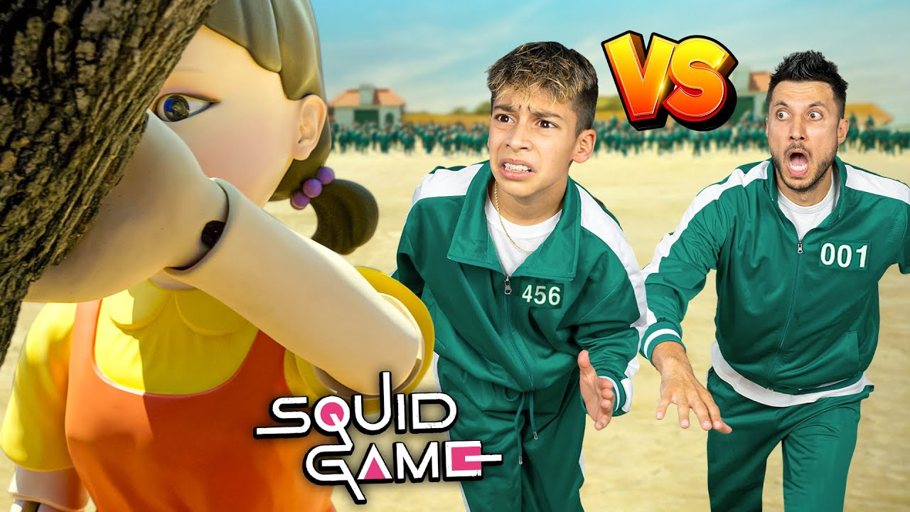 SQUID GAME Red Light Green Light Challenge! **SON vs DAD**