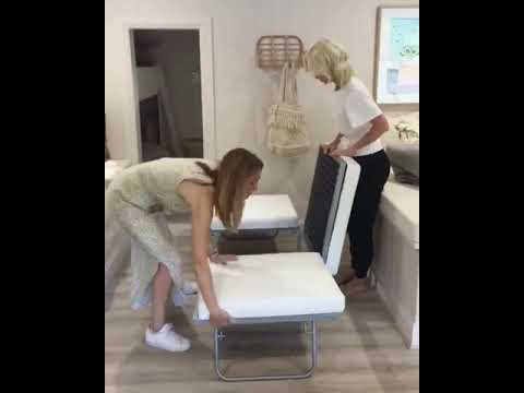 fold out designer ottoman converts into a guest bed small space sleeping solution youtube. Black Bedroom Furniture Sets. Home Design Ideas