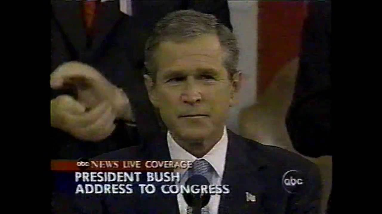 george bush 9 11 speech George w bush is the president of the united states and in turn he is the commander in chief pathos probably plays the largest part in this rhetorical response george bush uses the emotional tailspin that the unites states was in shortly after these attacks to portray the seriousness of the matter.