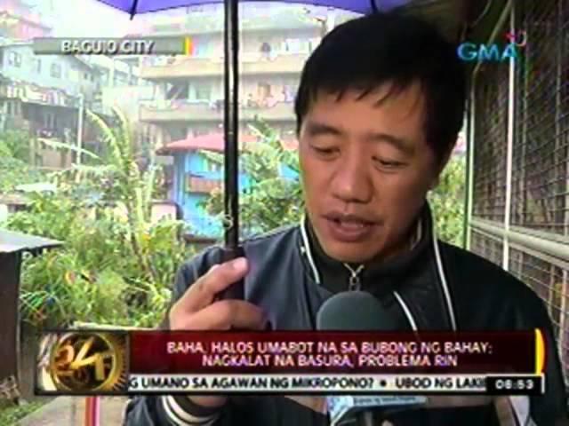 24 Oras: Baha sa Baguio City, halos umabot na sa bubong ng bahay