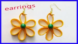 paper quilling make beautiful flower earrings