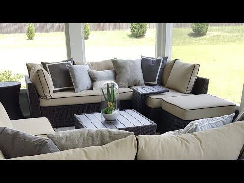 OUTDOOR PATIO REVEAL| HOW I STYLED HOME DECOR BUY + EASY INSTALL DIY FLOORING