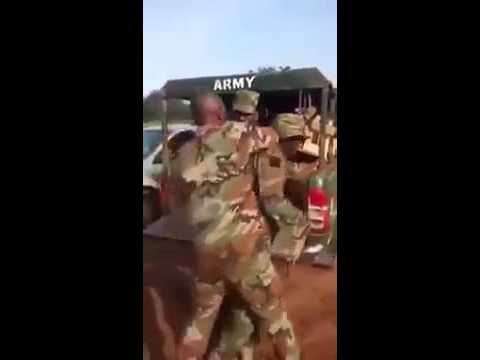 Watch Nigerian Army and a funny man caught with fake military uniforms