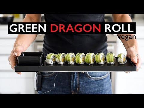 EASY VEGAN SUSHI RECIPE | HOW TO MAKE GREEN DRAGON ROLL