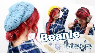 Cute Hairstyles To Wear With Beanies/Berets l Fall/Winter Hairstyles l Cute & Easy Hairstyles