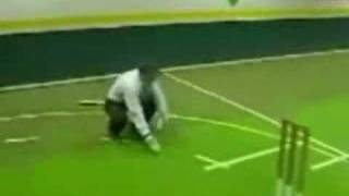 reporter gets hit in head by cricket ball