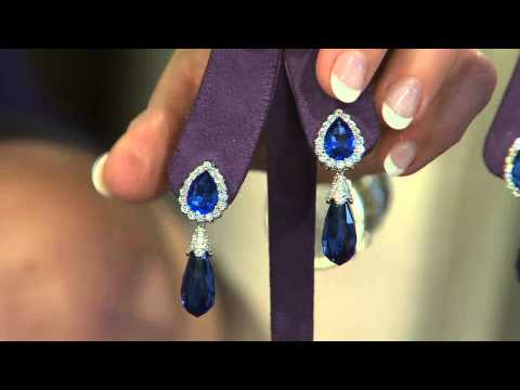 The Elizabeth Taylor Simulated Sapphire Drop Earrings with Mary Beth Roe