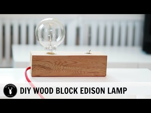 Wood Block Edison Table Lamp