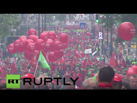 Belgium: Thousands of union members protest austerity in Brussels