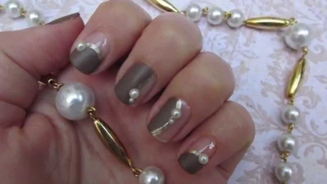 Elegant Pearls Nail Art - YouTube