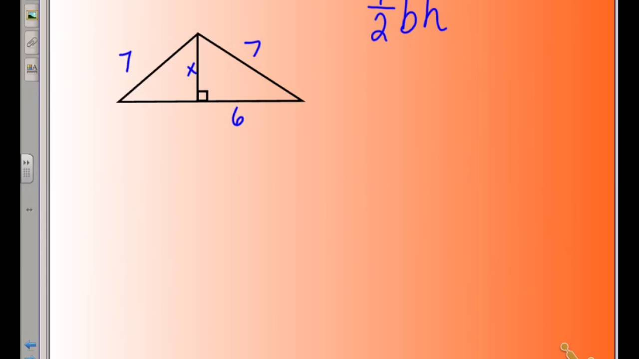 area of a triangle in simplest radical form - YouTube