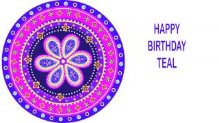 Teal   Indian Designs - Happy Birthday