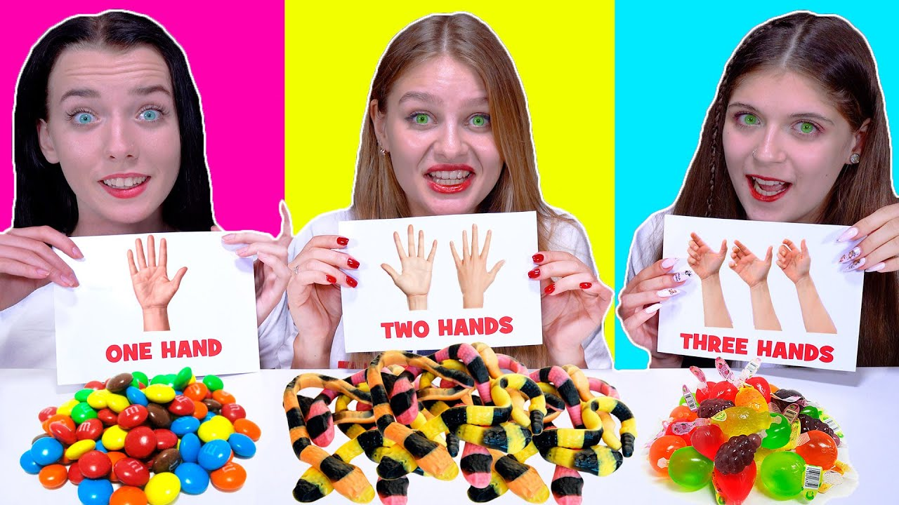 ASMR One Hand, Two Hands, Three Hands Candy Race Eating Challenge