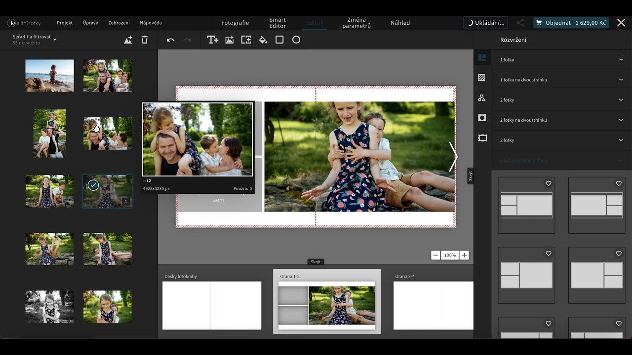 Návrh fotoknihy pomocí editoru