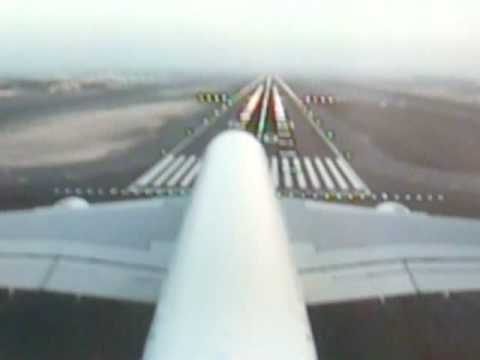 Emirates A380 tail camera view landing at Dubai International Airport DXB