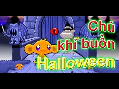 Game chú khỉ buồn halloween | Chú khỉ buồn quái vật đêm halloween