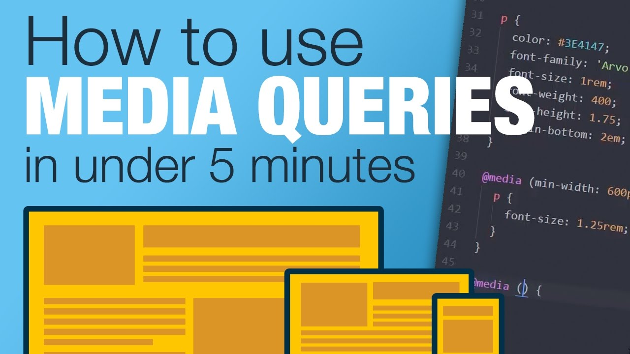 Tutorial Learn How To Use Css Media Queries In Less Than 5 Minutes Youtube