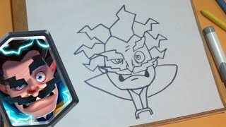 Cómo dibujar al Mago eléctrico CLASH ROYAL