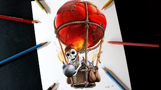 Como dibujo al Globo Bombástico de Clash Royale y Clash of Clans | How to draw Balloon