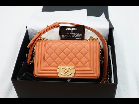 b3525e641110 Chanel Boy Small Orange Calfskin Gold-Tone Metal - YouTube