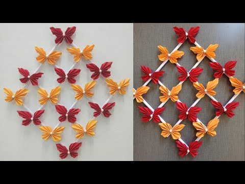 Paper Butterfly Wall Hanging 2 - DIY Easy Hanging Paper Butterfly Tutorial - Wall Decoration Ideas