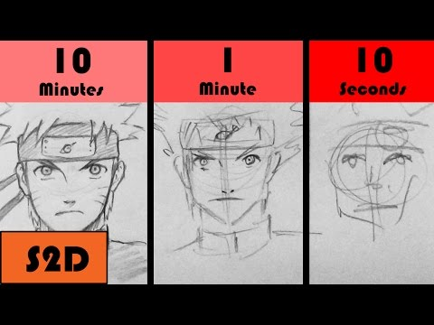 SPEED CHALLENGE: 10 Minutes/1 Minute/10 Seconds - Drawing Naruto