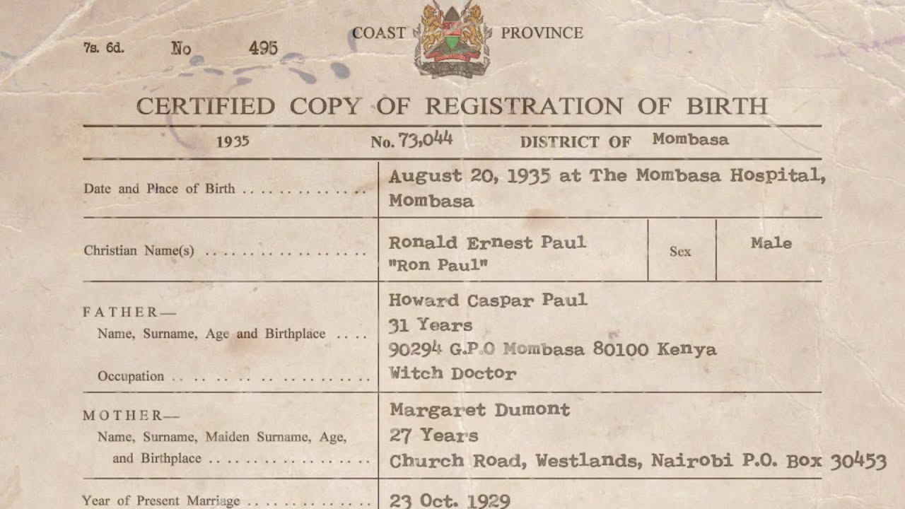 Ron pauls real birth certificate youtube ron pauls real birth certificate aiddatafo Image collections