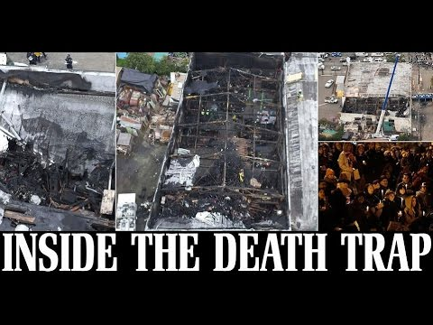Horrifying aerial photos show the burned out interior of artist enclave where 36 died.