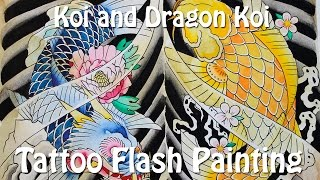 Koi and Dragon Koi - Tattoo Flash Painting