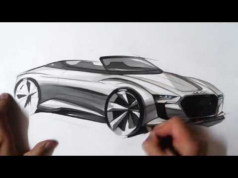 "온스케치 TV Car Sketch - ""Audi E-Tron Spyder Concept Sketch (Color Pencil + AD MARKER)"""