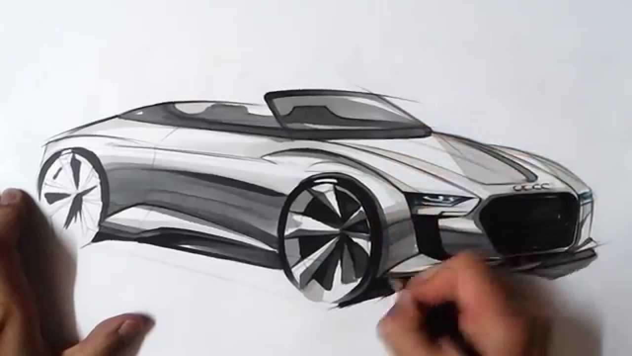 온스케치 Tv Car Sketch Audi E Tron Spyder Concept Sketch Color