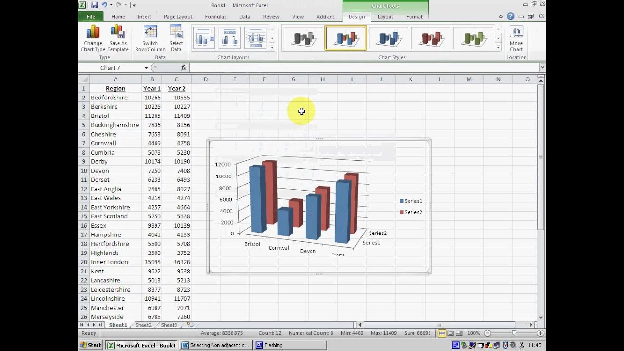 Selecing non adjacent cells in excel to create  chart  exam also rh youtube