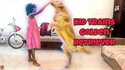 Dog obedience training Golden Retriever with Drools healthy dog treats