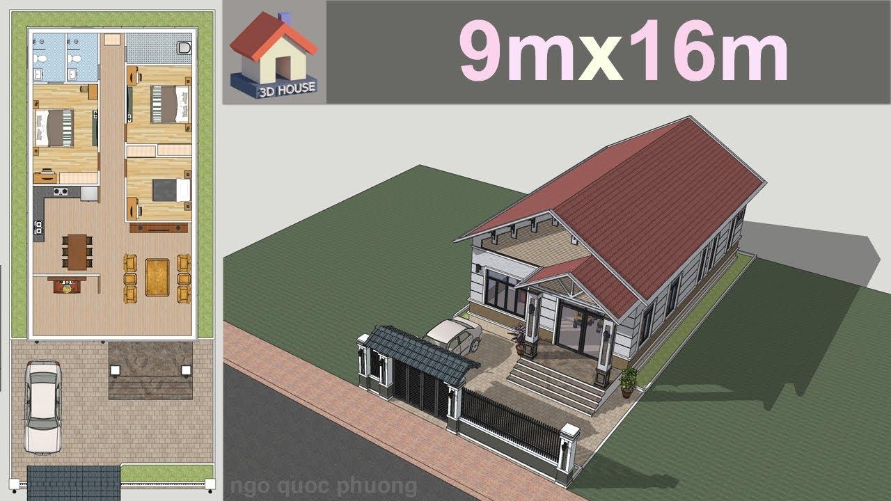 Mẫu nhà cấp 4 mái Thái 9x16m, 3 phòng ngủ, thiết kế đẹp    3D Home Design