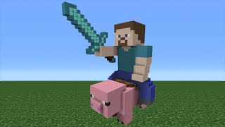 Minecraft Tutorial: How To Make Steve Riding a Pig Statue