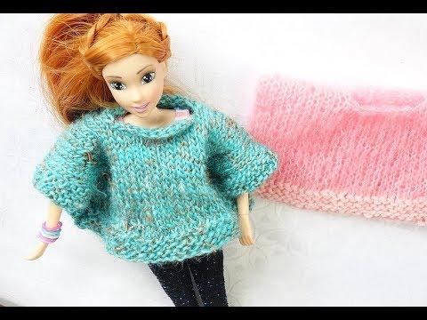 comment faire un poncho au tricot pour barbie - YouTube