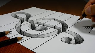 3D Trick Art on Line Paper   Treble Clef Hole
