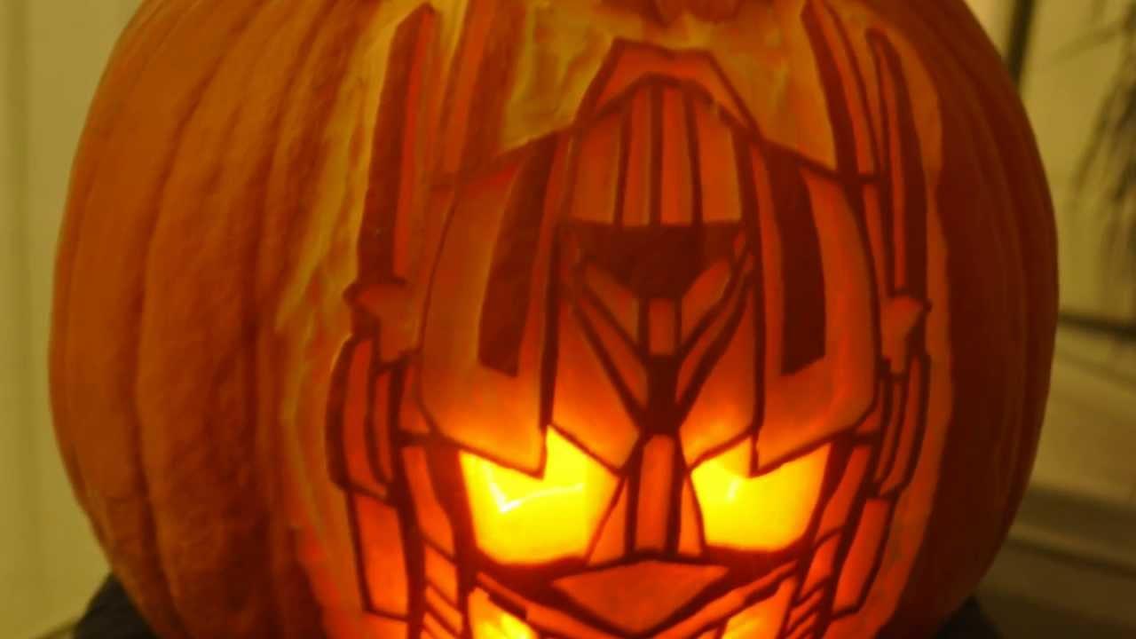 My Carved Halloween Pumpkin Transformers Optimus Prime Youtube