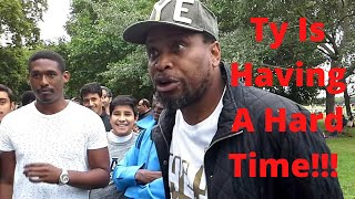 TY HAS FINALLY MET HIS MATCH - BROTHER MUHAMMAD LAMIN!!! A MUST WATCH DEBATE!!! SPEAKERS CORNER.