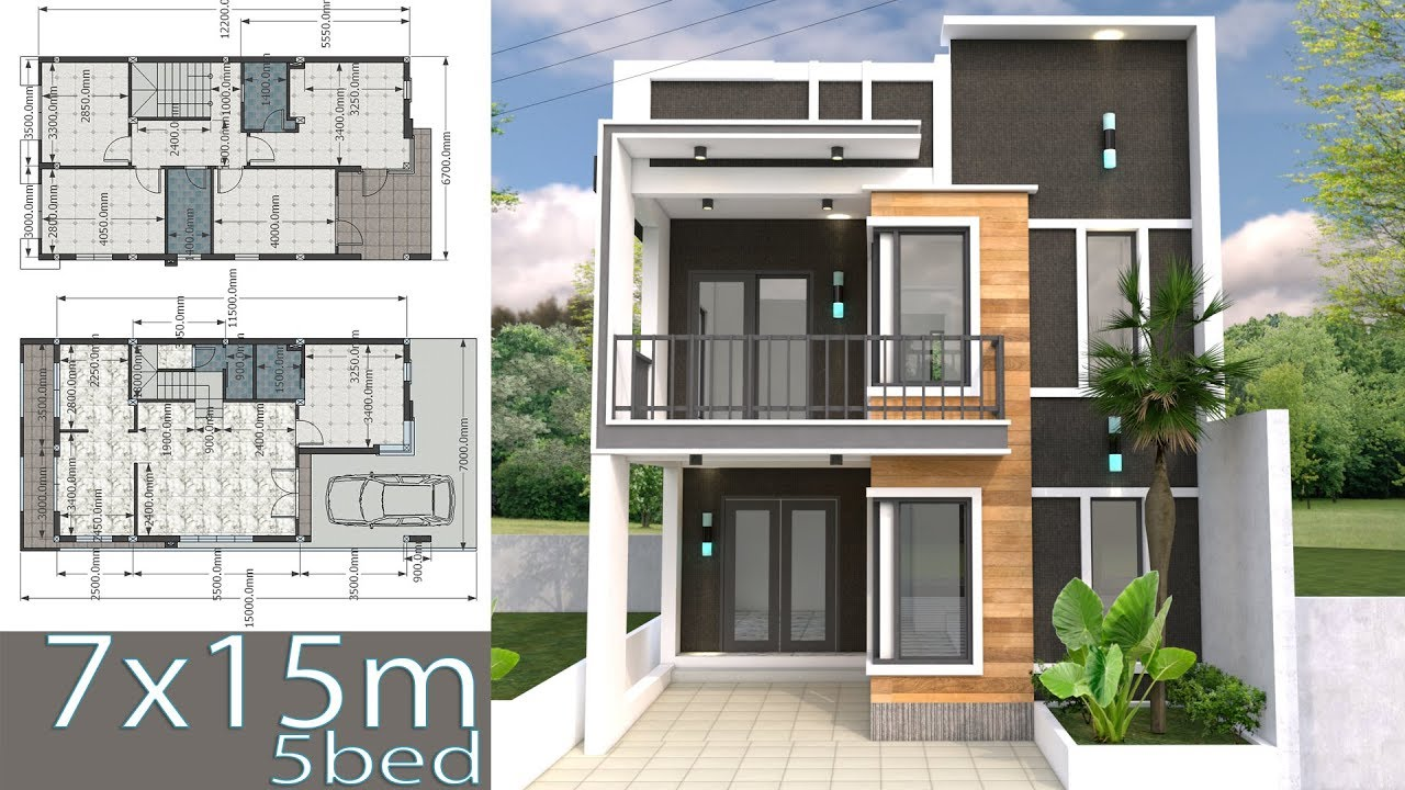Home Design Plan 7x15m With 5 Bedrooms 3d Modeling House