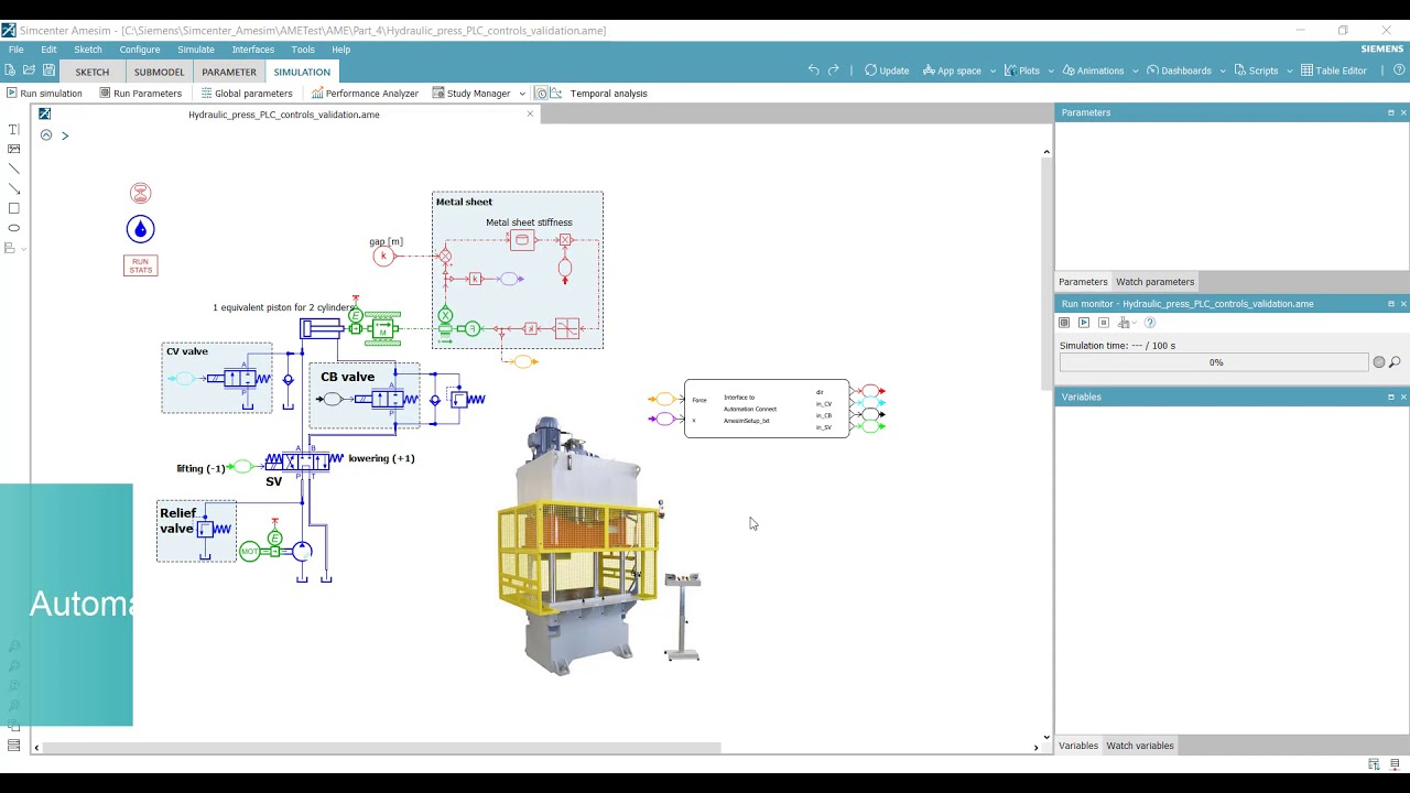 Virtual commissioning of production machines with Simcenter Amesim