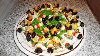 Рецепт канапе на шпажках закуски на праздничный стол