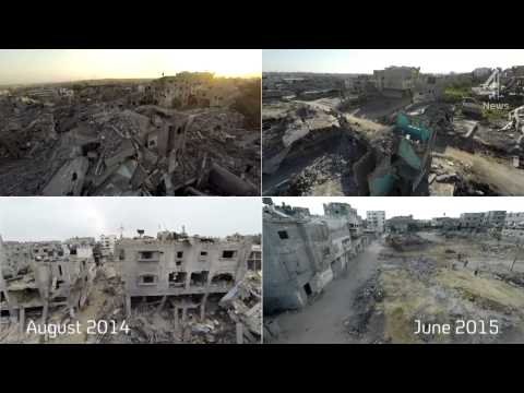 Gaza one year on: drone footage of a city scarred by war