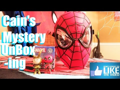 Cain Unboxes Marvel Mystery Boxes and NEW Spiderman Mask! Marvel Funko