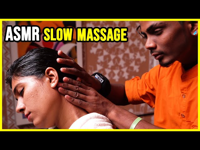 SLOW HEAD, ARMS, and NECK MASSAGE with HAIR STROKING 🟡 WRIST CRACKING 🟡 By RAVINDRA