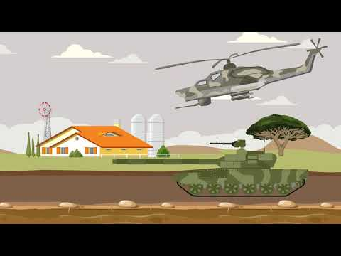 Military Machines, Army, Helicopter, Tank Animation For Kids