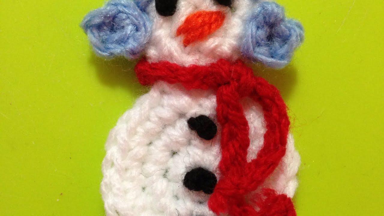 8ee695d98820 How To Crochet A Cute Snowman Applique - DIY Crafts Tutorial ...