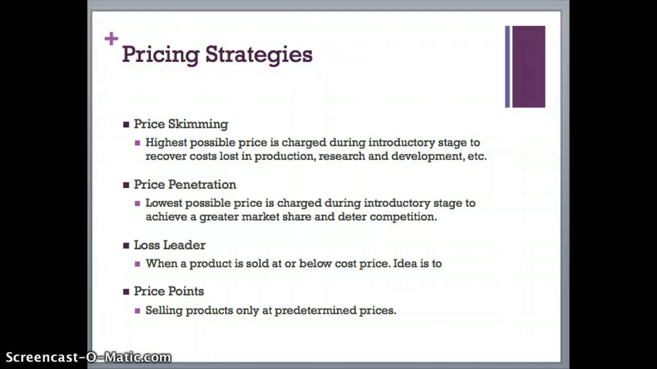 marketing pricing strategy Business strategy and pricing  after the marketing and pricing objectives have been decided, pricing has to then consider costs, competition, customers and controls.