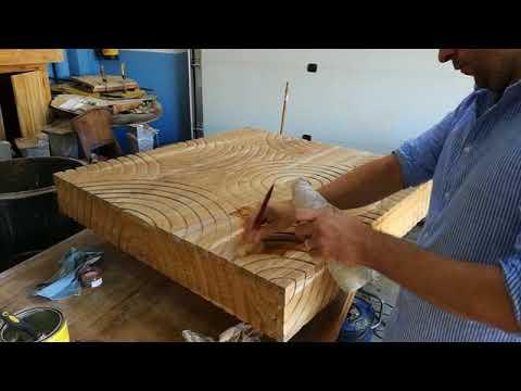 mesa de centro zen tallada madera tropical  tayasia