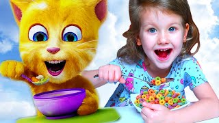 Morning Routine - Erika plays and eats with funny cat